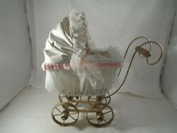 Very Nice Wicker Metal And Lace Doll Stroller With Porcelain Doll