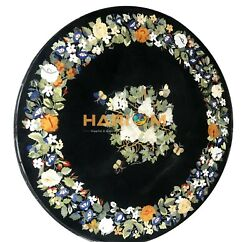 48 Marble Coffee Table Top Round Floral Marquetry Inlay Hallway Home Decor B082