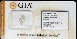 Gia Certified Marquise Diamond Sealed Loose .77ct Color F Clarity Si1 I.d. Prot.
