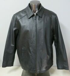 Mens Croft And Barrow Leather Jacket Black Size Xl Polyester Lined Full Zip