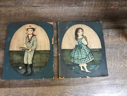 Vintage Yorkraft Inc Wooden Wall Pictures Of Boy And Girl By Carol B Blanchard