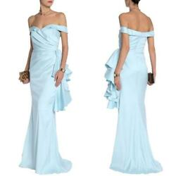 NEW BADGLEY MISCHKA Collection SKY BLUE Off the Shoulder RUFFLE Detail GOWN 12