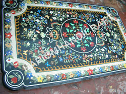 4and039x2and039 Black Marble Dining Table Top Multi Floral Inlay Marquetry Furniture E842c
