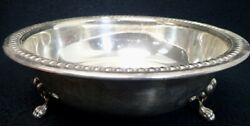 Vintage Epc Round Silverplate Serving Bowl With Lion Feet 9 1/4