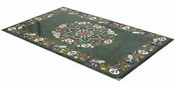 48 X 24 Green Marble Center Table Semi Precious Stones Floral Inlay Work