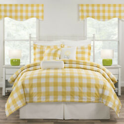 Yellow And White Plaid Bedding Set Classic Cottage Comforter Skirt And Shams