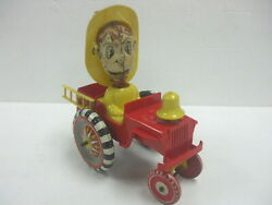 Vintage Marx - Fire Chief Crazy Whoopee Car - Tin Litho And Plastic Wind-up Toy