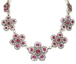 16.50cts Rose Cut Diamond Ruby Antique Victorian Look 925 Silver Necklace