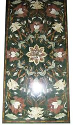 48 X 24 Green Marble Center Table Top Semi Precious Stones Floral Inlay Work