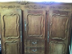 Armoire French Provincial Antique 1800s 3 Doors With Drawers