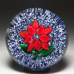Antique Boston And Sandwich Company Red Double Poinsettia On Jasper Paperweight