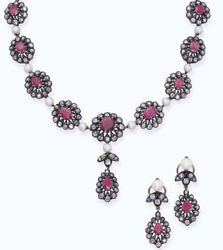 12.50cts Rose Cut Diamond Ruby Pearl Victorian 925 Silver Earring Necklace Set