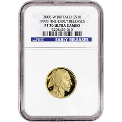 2008-W American Gold Buffalo Proof 1/4 oz $10 - NGC PF70 Early Releases