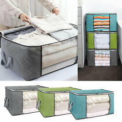Foldable Large Non woven Clothes Quilt Blanket Zipper Storage Bag Organizer Box
