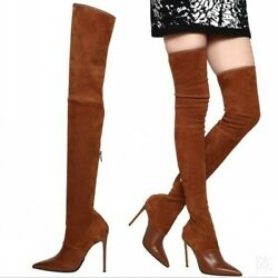 Womens Pointy Toe Over The Knee Thigh High Boots Stilettos Shoes Size 34-46 Club