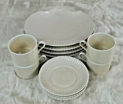 Vintage Mid Century Discontinued Laslo For Mikasa Beige Shell 12 Setting For 4
