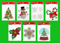 Recollections Christmas Bling Stickers Snowman Tree Candy Cane Poinsettia Globe