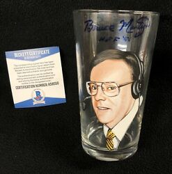 Bruce Martyn Signed And Inscribed Painted Detroit Red Wings Glass Cup Beckett Coa