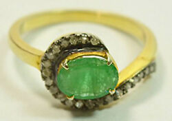 1.30ct Rose Cut Diamond Emerald Antique Victorian Look 925 Silver Cocktail Ring