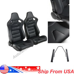 1 Pair Reclinable Beige Tan Racing Seats W 2 Sliders Sport Bucket Leather Seats $341.99