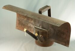 Rare Antique 1800's X-large Iron Tin 2-wick Oil Grease Lamp Lantern Projector