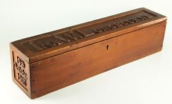 Antique 1918 Large Glove Box Carved Wood New England Sailor Made Nautical Named
