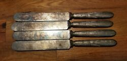 4 Antique Vintage Collectible Knives 9.25 1847 Rogers Bros Silver Plate- 16 Dwt