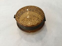 """Antique Bohemian Moser Amber Glass And Enamel Small 2"""" Hinged Jar"""