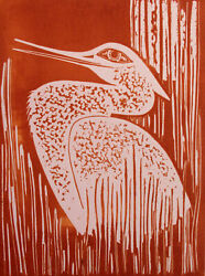 Lester Hines Snow Heron Hand Signed Trial Proof Pink Linocut Art Print 1976