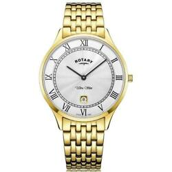 Rotary Mens Watch Ultra Slim Gold Plated Steel Gb08303/01