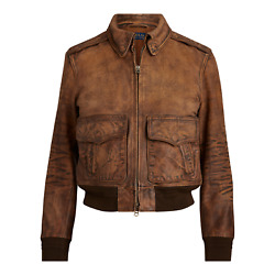 Women's Polo Distressed Painted Leather Bomber Jacket New 998