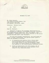 1979 Penny Marshall Signed Contract Amendment For Columbia Pictures Movie 1941