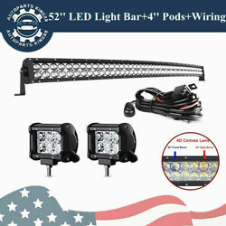 700w 52inch Curved Led Light Bar Offroadand 4'' Podsand Free Harness For Jeep Ford
