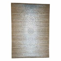 8and0391x11and0397 The Blue Sunburst Silk With Textured Wool Hand-knotted Rug R40590