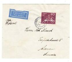 Sweden Upu Issue-sc223single Frank-anderstorp 4/6/39-air Mail To Switze