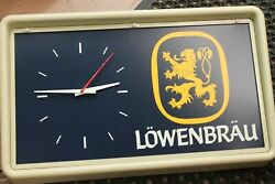 Vintage Lowenbrau Wall Mount Lighted Clock Sign 1983 Beer Miller Brewing Company