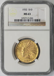 1932 Indian Head Eagle Gold 10 Ms 63 Ngc