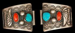 Vintage Sterling Silver Richard Yazzie Turquoise And Coral Watch Band Tips