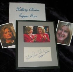 Hillary Clinton And Tipper Gore Autographed Card And Photo Framed -collectible