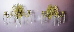 Very Fine & Rare Aesthetic Movement Gilt Bronze Candle Sconces & Crystals c.1890