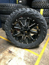 20x9 Ion 141 32 Mt Black Wheels Rims And Tire Package 8x6.5 Dodge Ram 2500 3500