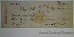 Obsolete Bank Check National Bank New York 1875 Printed On Revenue Stamp