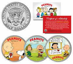 Peanuts Valentines Snoopy Lucy Patty Charlie Brown Jfk Half Dollar Us 3-coin Set