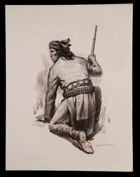 Apache Native American Indian Charcoal Drawing By Reynold Brown Listed Artist