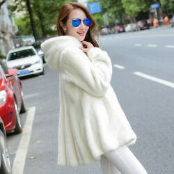 Hot Fashion Womens Mink Fur Coat long Jacket Warm Winter Casual Parka Outwear