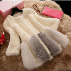 Luxury Womens Faux Fox fur Collar Mink fur Coat Warm Winter Jacket Parka Outwear