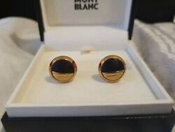 Mont Blanc Gold And Rosewood Stainless Steel Cufflinks