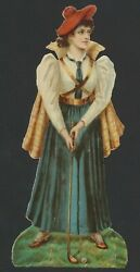 1880's Ladies Golf Large Chromo-lithograph Victorian Die-cut/advertising Piece