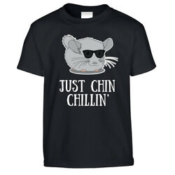 Novelty Kid's T Shirt Just Chin Chilling Sunglasses Chinchilla Pet Joke Pun