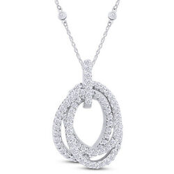 Round Shape White Natural Diamond Triple Oval Pendant 14k Solid Gold 1.36 Cttw